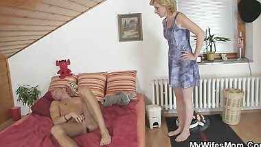 She rides her daughter's BF cock and gets busted