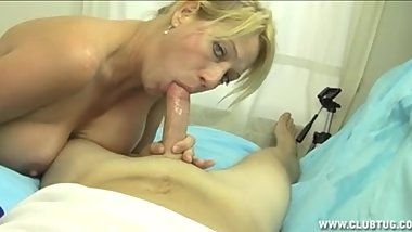 Jerking and sucking off her step-son