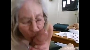 Granny is suck Grandsons dick.