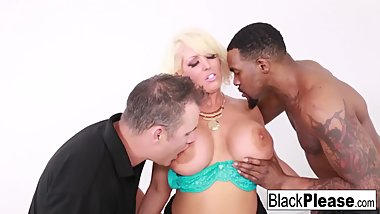 Hot busty MILF Alura takes it both white and black