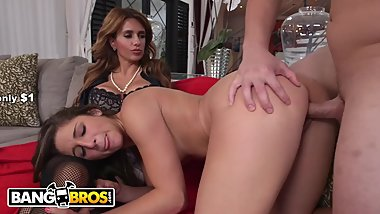 BANGBROS - Stepdaughter Abella Danger Gets Lesson From MILF Mia Ryder