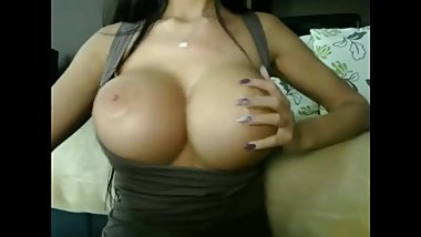 Whore With Huge Tits Masturbates Her Pussy