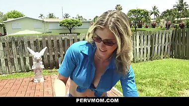 Pervy mom fucks and sucks stepson cock