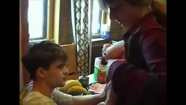 Russian Mom and Step-Son Blowjob and Passional