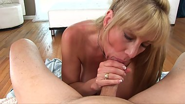 big tit blonde mommy sucks stepsons cock