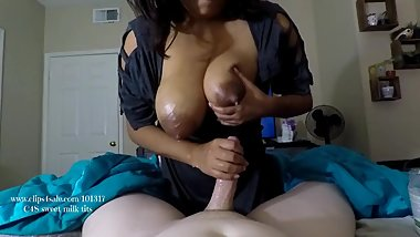 milf jerks off needy Step sons cock with breast milk, sucks & swallows cum