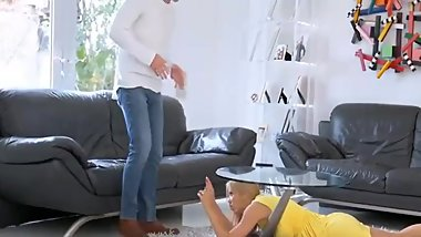 Step Mom fucks stepson while dad is away
