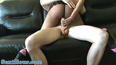 EBONY STEP MOM FUCKS YOUNG WHITE STEP SON
