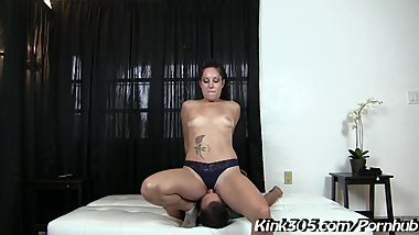 Milf hottie Victoria Monet takes her Slave for a Hard Face sitting lesson!