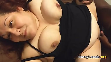 Chubby huge tits fucked by black man