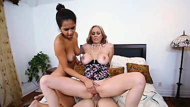 Pervert stepson fucks his busty stepmom and the maid
