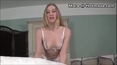 Beautiful milf teaches her son how to satisfy a woman