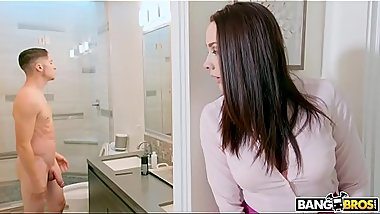 BANGBROS - Stepmom Chanel Preston Catches Son Jerking Off In Bathroom