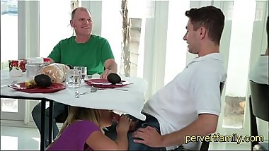 StepMom sucks StepSon under the Table